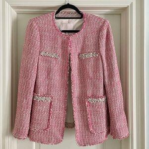 Rebecca Taylor Pink Tweed Chanel-look blazer size 12
